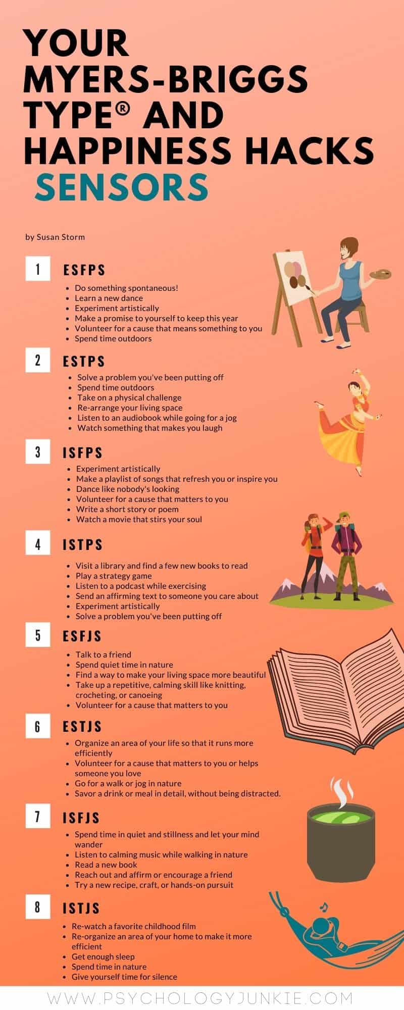 Discover some happiness hacks for the sensing Myers-Briggs personality types. #MBTI #Personality