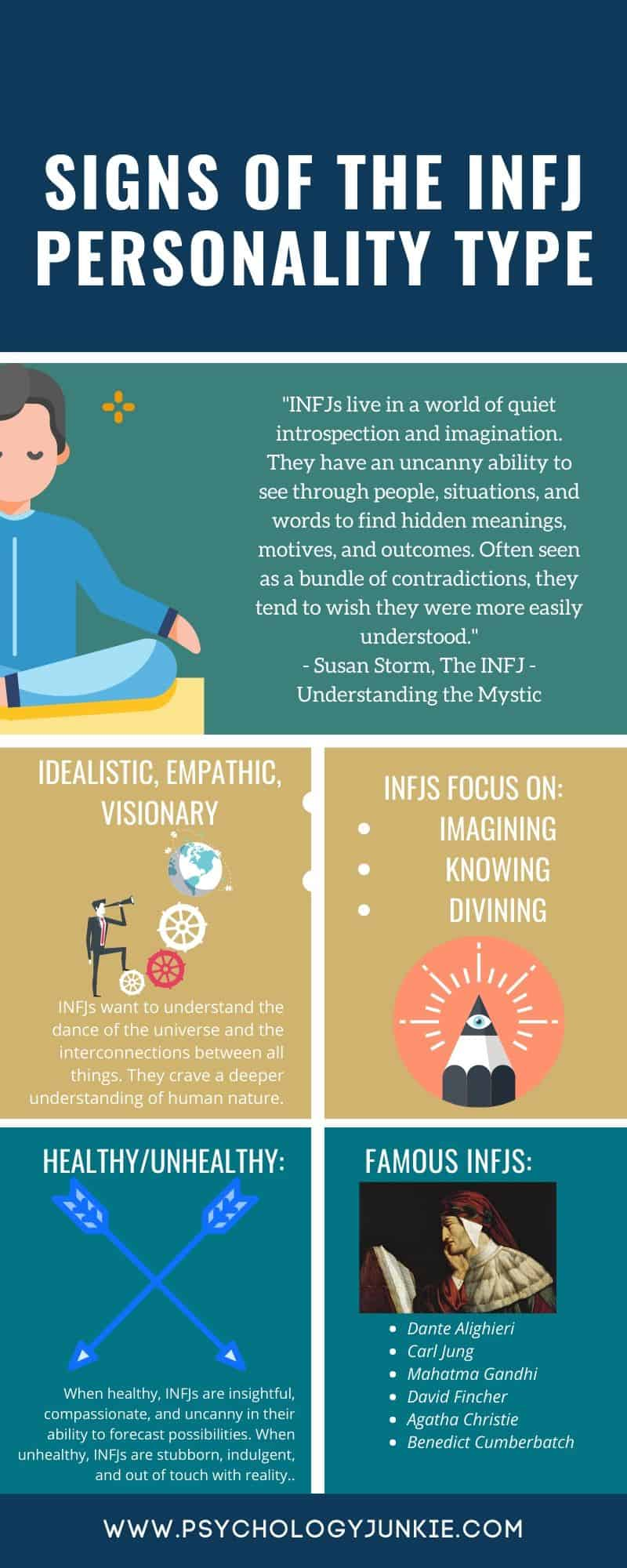 An #infographic about the defining qualities of the #INFJ personality type. #MBTI #Personality
