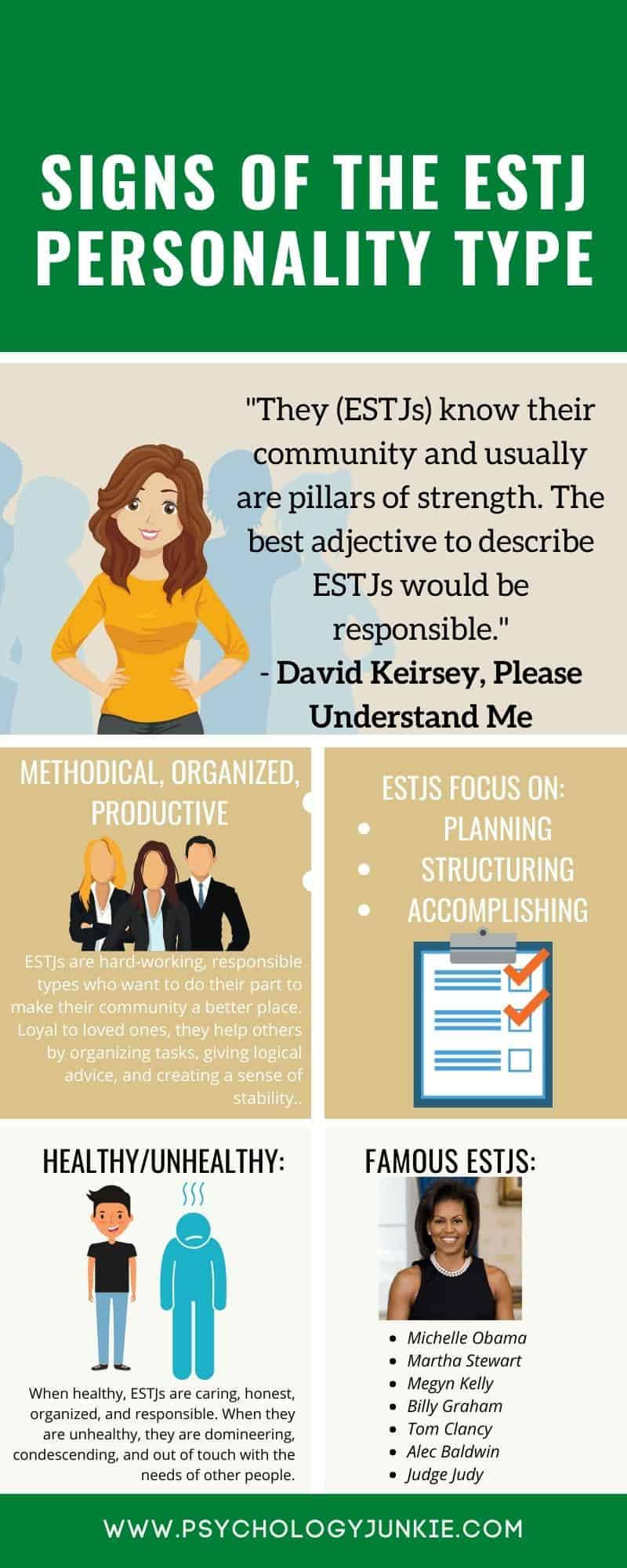 Infographic of the #ESTJ personality type! #MBTI #Personality