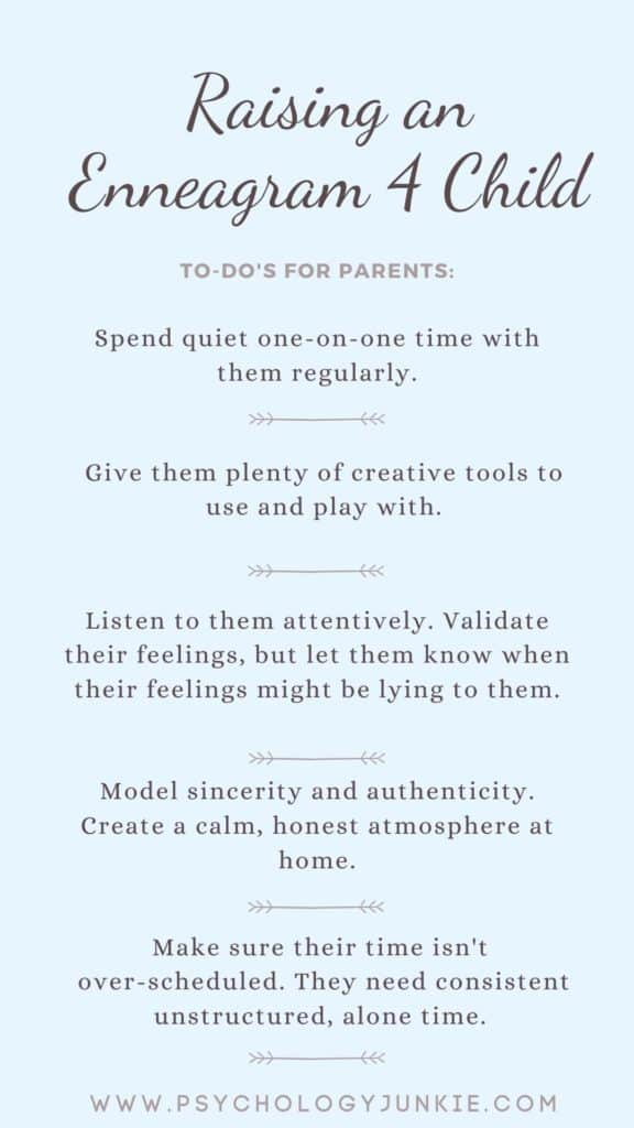 Tips for raising a healthy Enneagram Four child. #Enneagram #Personality